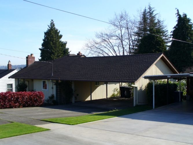 Seattle Asphalt Roof Replacement Home With Car Port
