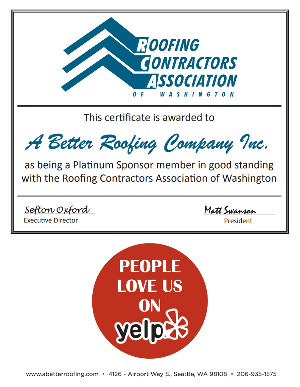 Roofing Contractors Association Certificate