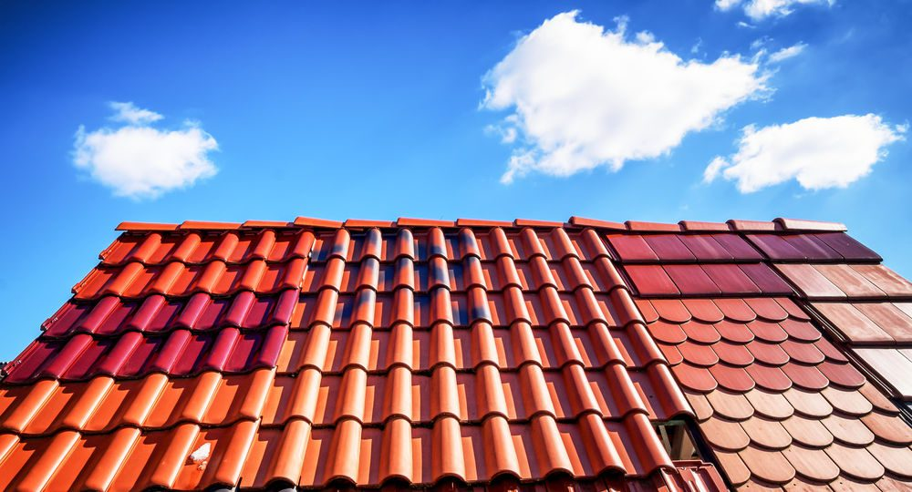 close up of different roof tiles